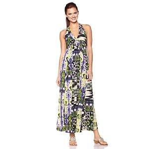 IMAN Global Chic Printed Glamour So Sexy Halter Maxi Dress