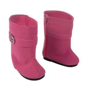 Doll Shoes, Tall Suede Buckle Doll Boots in Pink Fits 18 American
