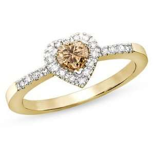 Carat Champagne and White Diamond 14K Yellow Gold Heart Ring Jewelry