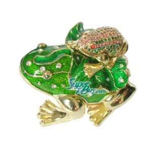 and Baby Frog   Swarovski Crystal Jewelry Trinket Box