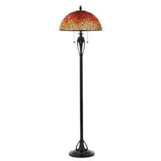 Dale Tiffany Rose Motif Art Glass Floor Lamp