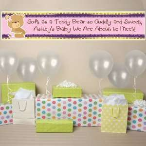Baby Girl Teddy Bear   Personalized Baby Shower Banner Toys & Games