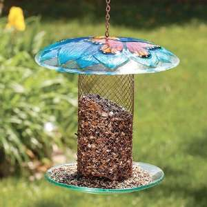 Blue Flower Glass & Mesh Column Wild Bird Feeder Patio, Lawn & Garden