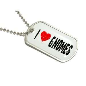 I Love Heart Gnomes   Military Dog Tag Keychain