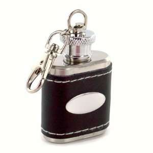 Black Genuine Leather Key Chain Flask