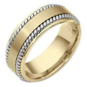 8mm Rope Style 18 Karat Two Tone Gold Comfort Fit Wedding Band Ring