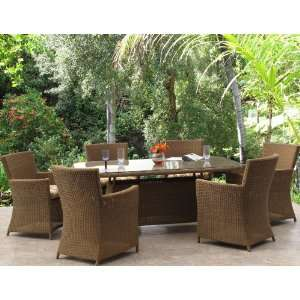 Patio Resin Wicker Rectangle Dining Chair Table 7 Piece Set Patio