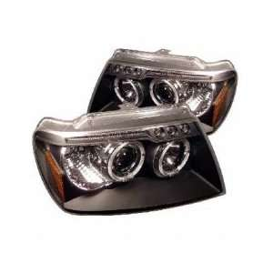99 04 Jeep Grand Cherokee LED Projector Head Lights  Black Automotive