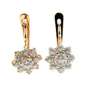 1.96 CT ROSE GOLD DIAMOND FASHION EARRINGS 14 KT Jewelry