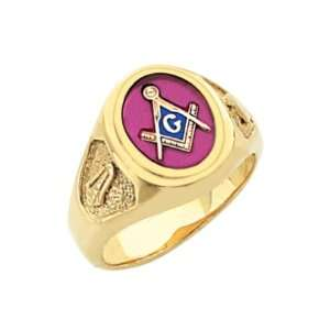 Vermeil Masonic Freemason Mason Ring Rose Stone (Size 8) Jewelry