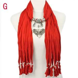 com New Designed Scarves for Women with Butterfly Pendant Red Jewelry