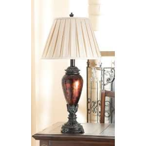 Black Glass Table Lamps with Geneva Taupe Bell Shade