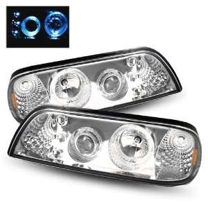 93 Ford Mustang Chrome LED Halo Projector Headlights 1PC Automotive