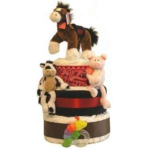 Dude Ranch Farm 3 tier Baby Shower Diaper Cake