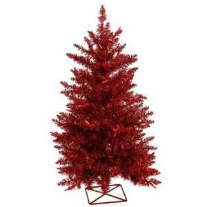 2 Pre Lit Sparkling Red Artificial Tinsel Christmas Tree
