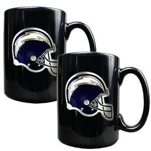 San Diego Chargers NFL 2pc Black Ceramic Mug Set   Primary