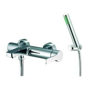 Brushed Nickel Matrix Wall Mounted Tub Faucet with Hand Shower S3534