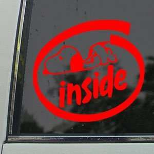SNOOPY INSIDE LOGO SIGN Red Decal Truck Window Red Sticker