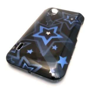 Straight Talk LG L85c Optimus Black Blue Star Design HARD Case Skin