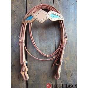 Western Tack Turquoise Ostrich Bridle Headstall & Reins