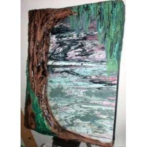 MODERN ART W/SCULPTED RELIEF TREE ABSTRACT PAINTING ENTITLED AFTER