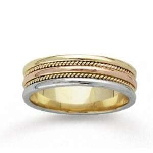 14k Tri Tone Gold Dbl Milgrain Hand Carved Wedding Band Jewelry