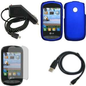 iFase Brand LG 800G Combo Rubber Blue Protective Case Faceplate Cover