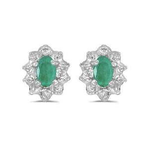 14K White Gold Oval Emerald and Diamond Earrings (.60ct TGW) Jewelry