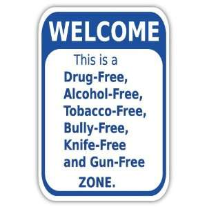 Welcome free zone sign car bumper sticker decal 4 x 6