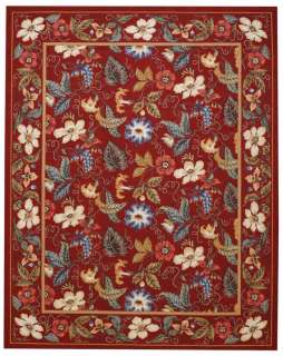 Capel Rugs Floral Garden Wool Loop Hooked Area Rectangle Rug/Red #550