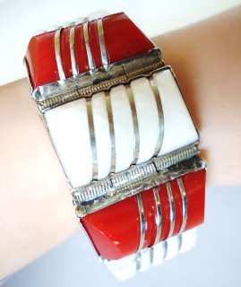 CHUNKY RED CORAL WHITE AGATE MEXICO MEXICAN STERLING SILVER BRACELET
