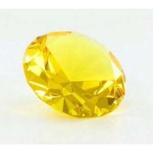Yellow Diamond Shaped Glass Paperweight Home Office