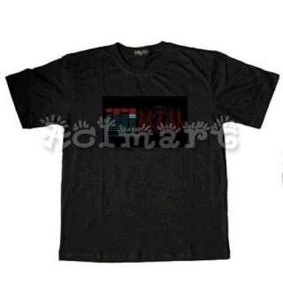 LED Dance Sound activated EL Equalizer T shirt #00160 L
