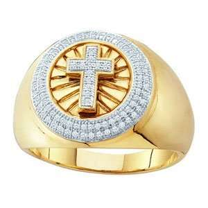 10k Yellow Gold Cross Pave Mens Ring SeaofDiamonds Jewelry